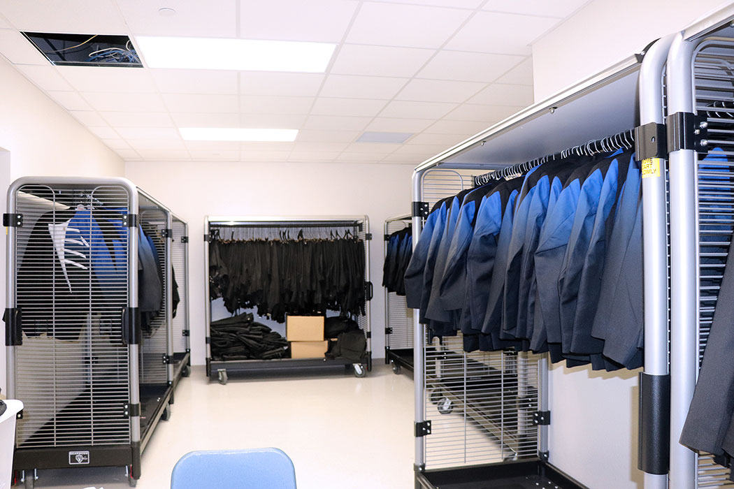 Uniform storage area in new band hall